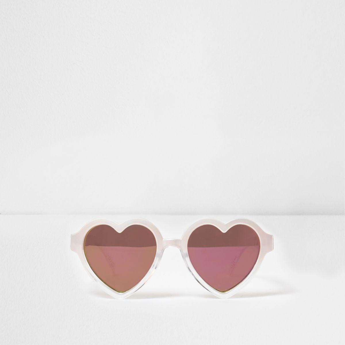 Mini girls pink heart shaped frame sunglasses