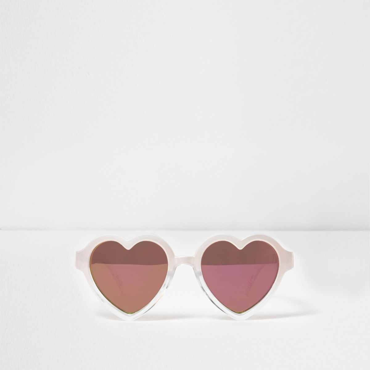 Mini girls pink heart shaped frame sunglasses