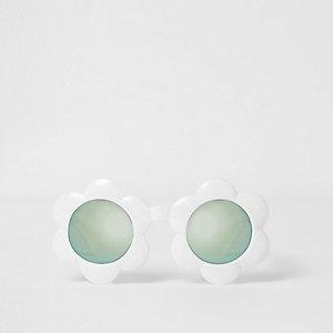 Mini -  Witte zonnebril met blauwe glazen en bloemmontuur voor meisjes