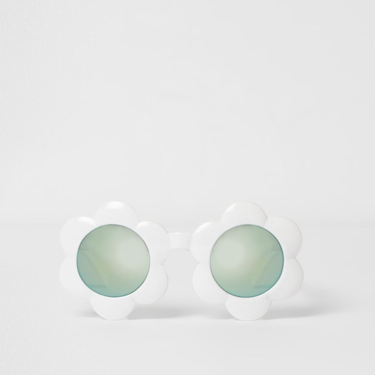 Mini girls white blue lense flower sunglasses