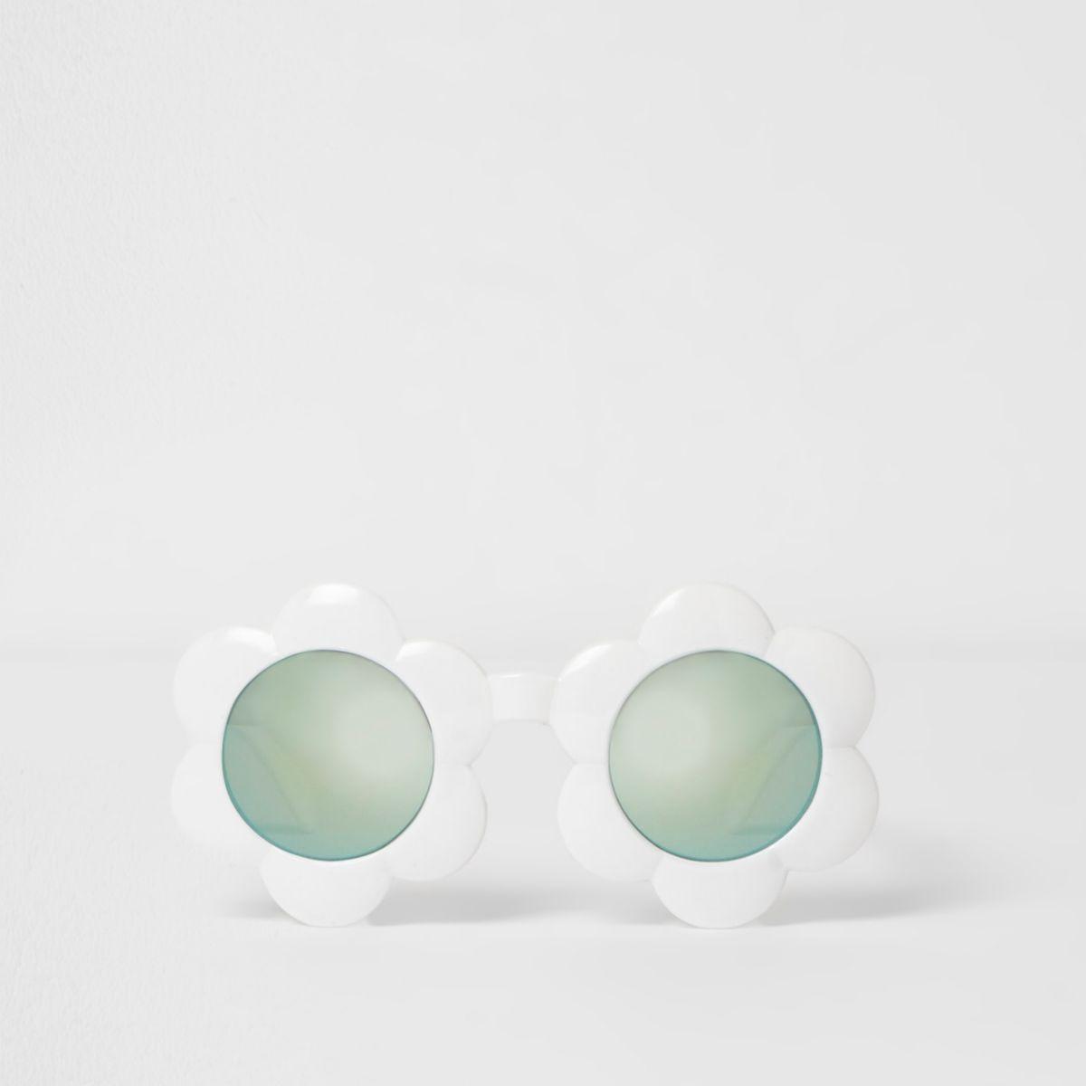 Lunettes de soleil fleurs blanches à verres bleus mini fille