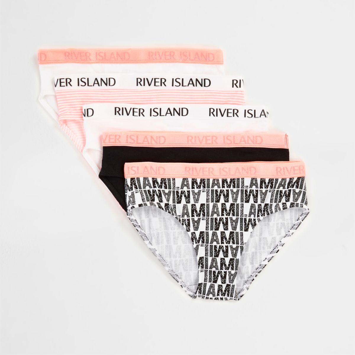 Girls pink 'Miami' print briefs multipack