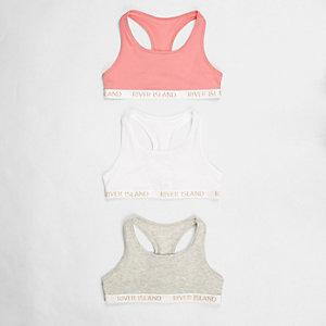 Girls pink branded racer back crop top pack