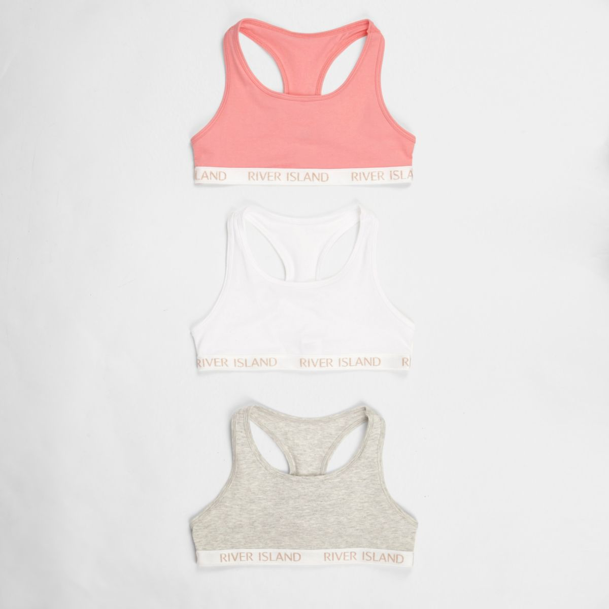 Girls pink branded racer back crop top pack