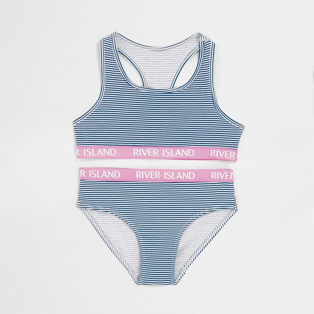 Girls navy stripe crop top and knickers set