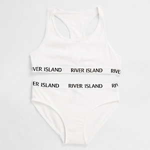 Girls white RI branded crop top underwear set