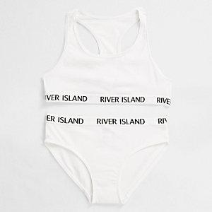 Witte ondergoedset met crop top en RI-logo voor meisjes