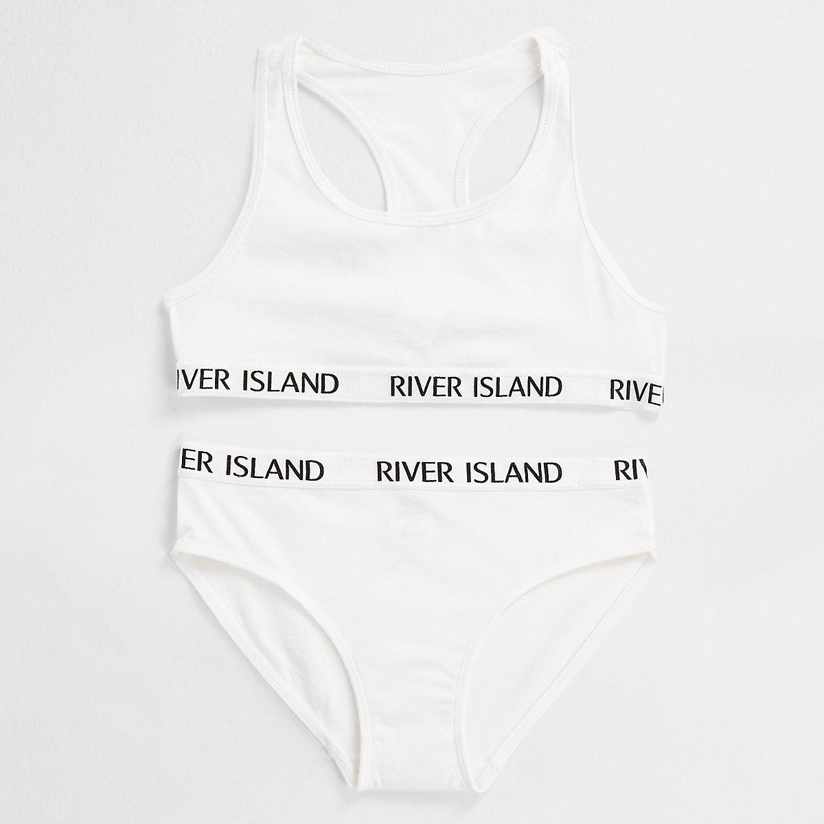 Girls white RI branded crop top underwear set - Pyjamas   Underwear ... f1f72fbf4