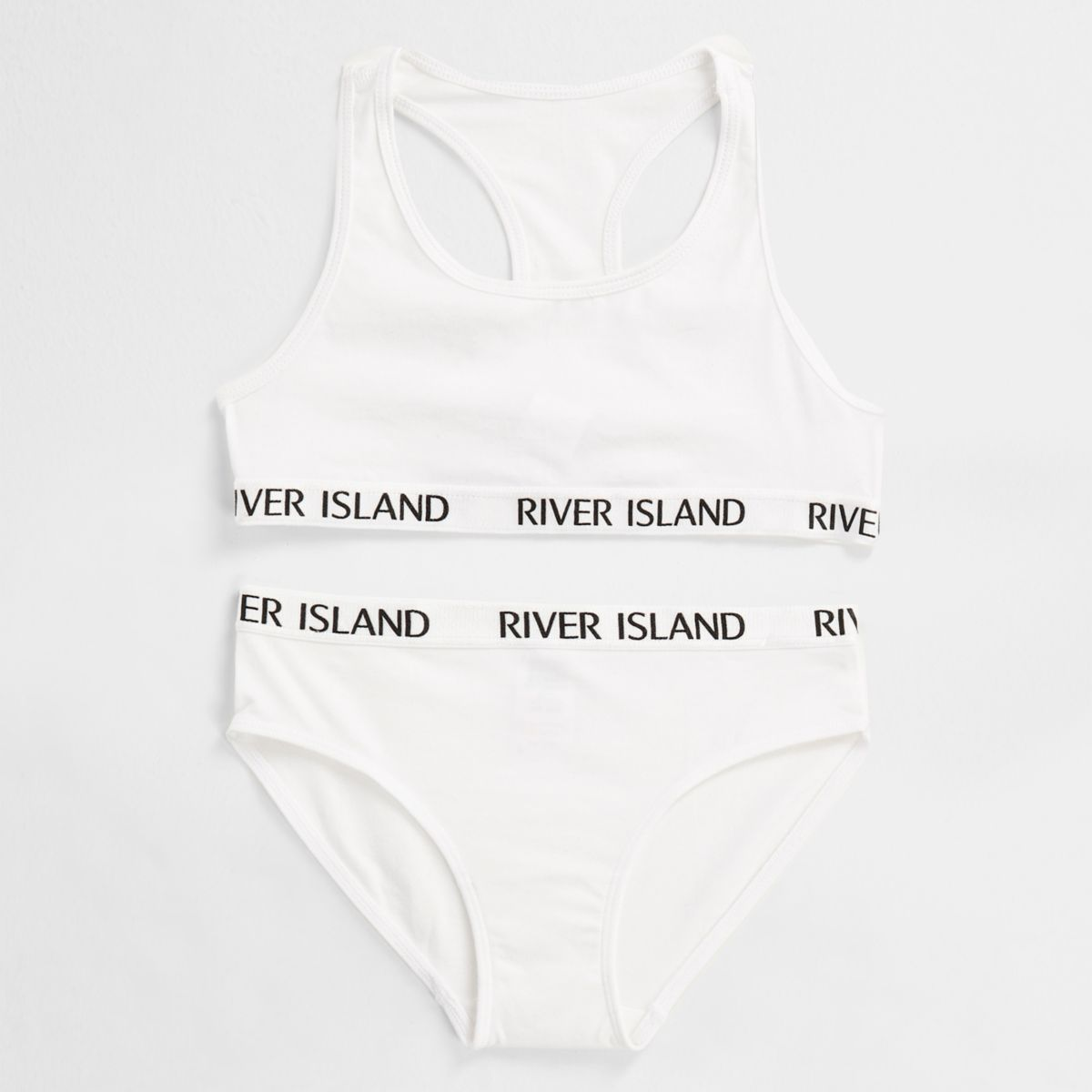 Girls white RI branded crop top underwear set