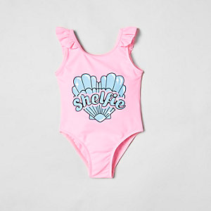 Mini girls pink 'shelfie' frill swimsuit