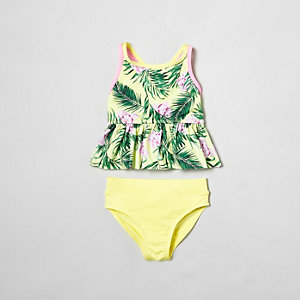 Mini girls yellow tropical print tankini