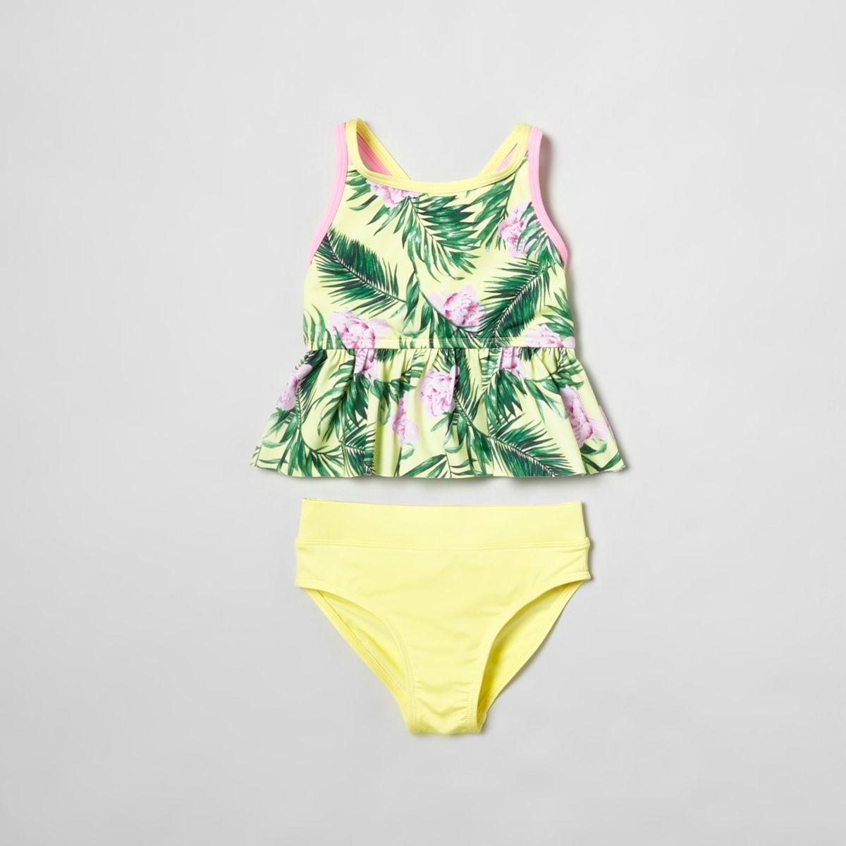 Mini girls yellow tropical print tankini