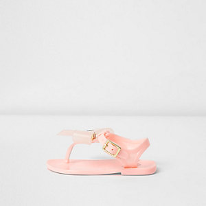 Mini girls pink diamante bow jelly sandals