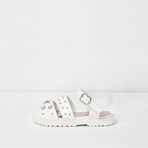 Mini girls white embellished chunky sandals