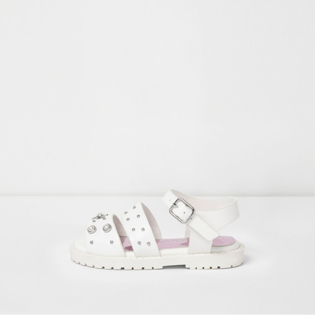 Mini girls white embellished chunky sandals