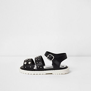 Mini girls black embellished chunky sandals