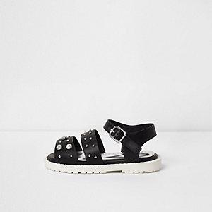 Mini - Zwarte verfraaide sandalen met dikke zool voor meisjes