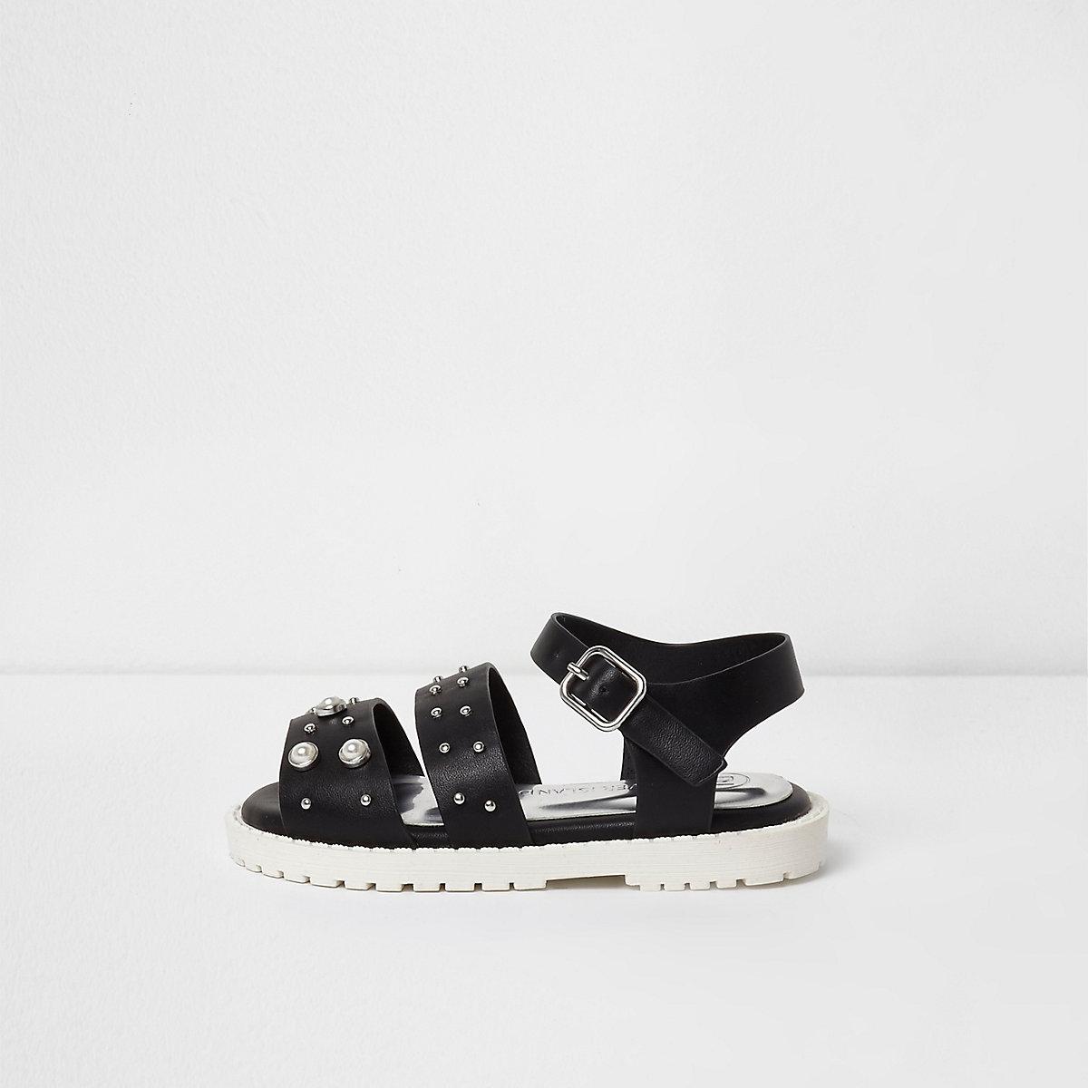 Mini girls black embellished chunky sandals