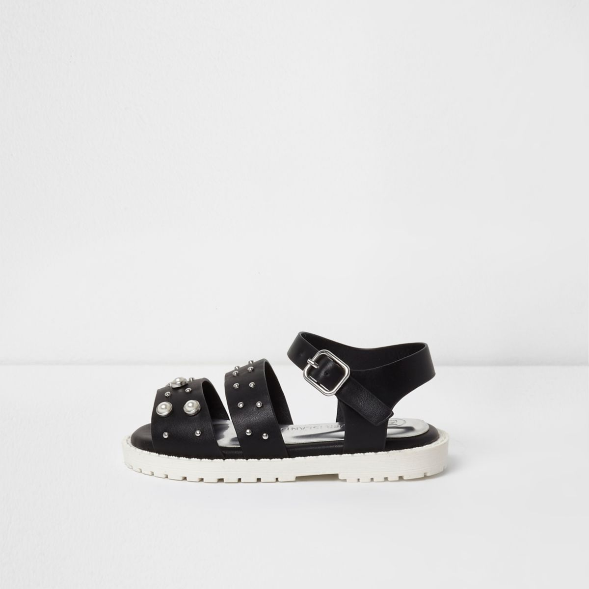 Sandales épaisses noires ornées mini fille