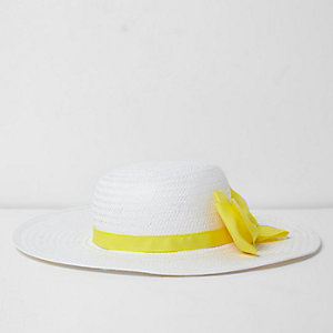 Girls white straw contrast bow sun hat
