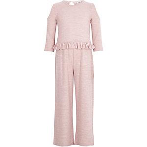 Girls light pink cold shoulder frill jumpsuit