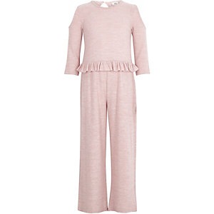 Girls light pink cold shoulder frill jumpsuit