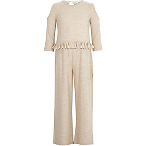 Girls beige cold shoulder frill jumpsuit