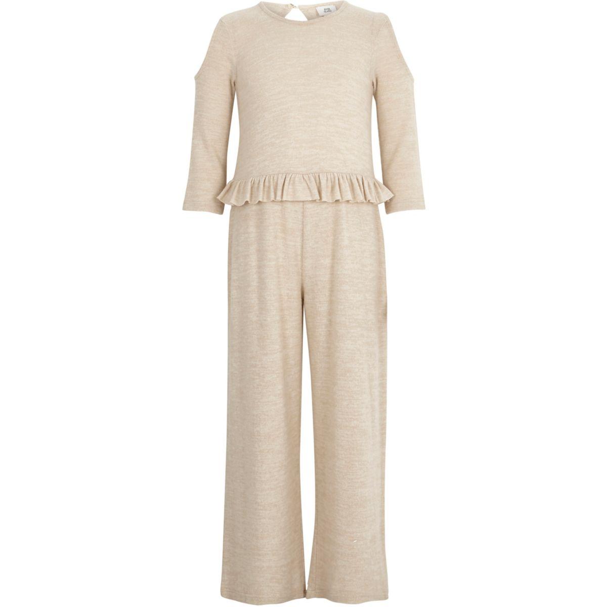 Girls beige cold shoulder frill jumpsuit