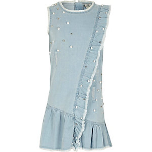 Girls light blue embellished denim dress