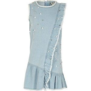Lichtblauwe versierde denim jurk voor meisjes