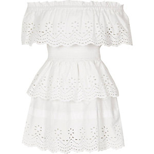 Girls white broderie rara frill bardot dress