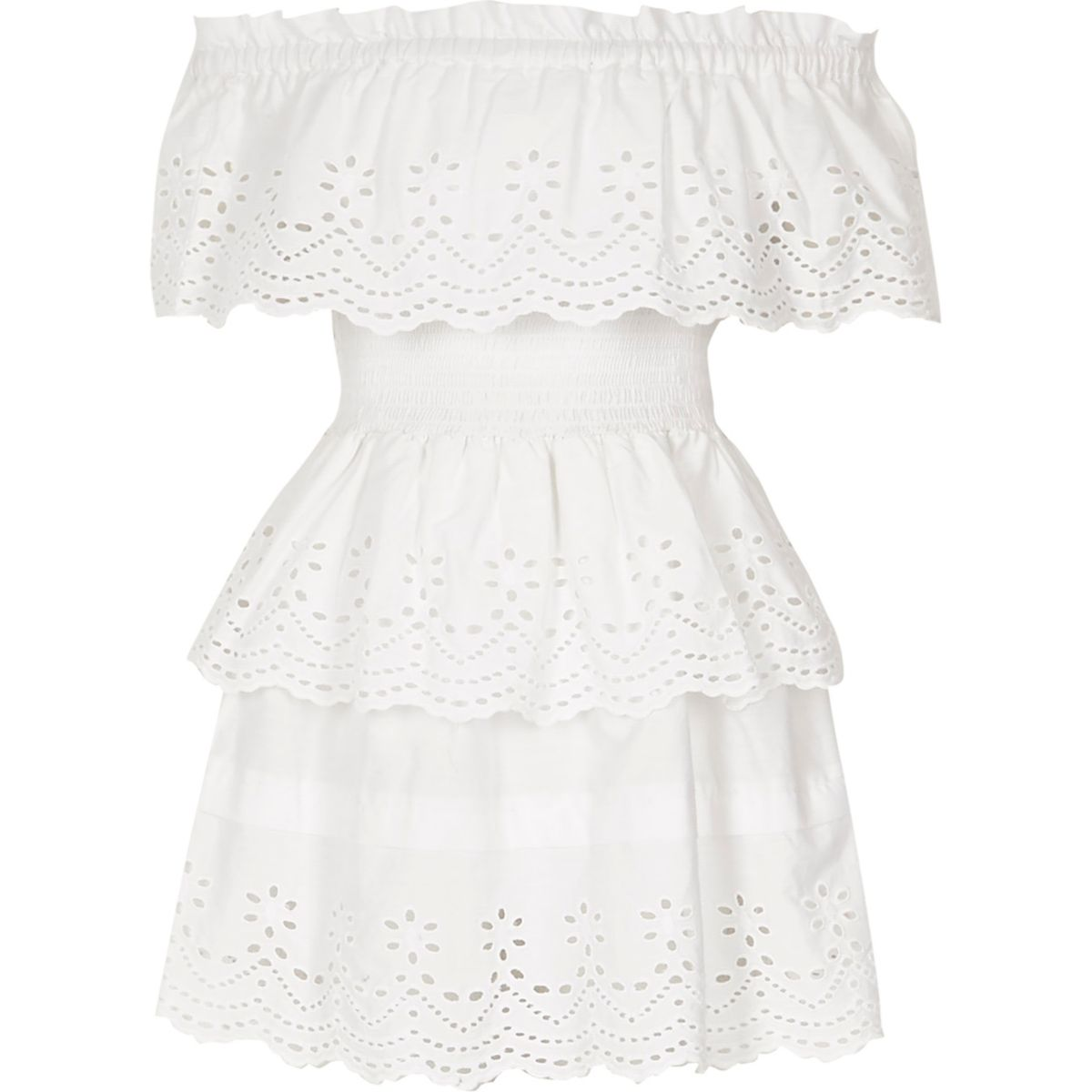 Girls white broderie rara frill bardot dress