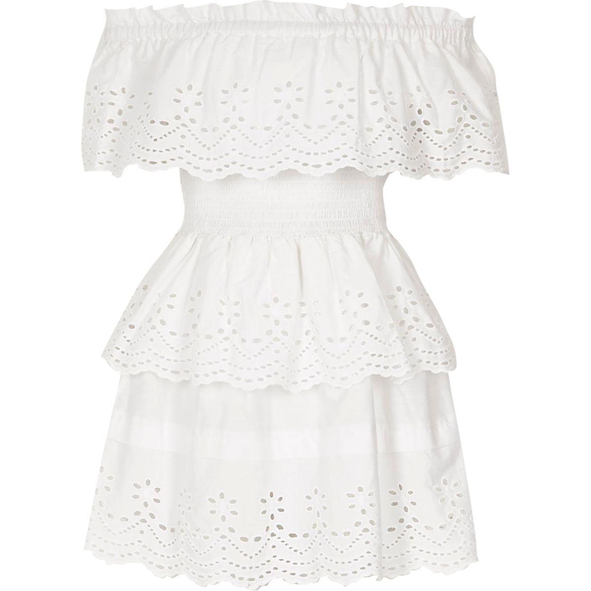 Robe Bardot Rara blanche à volants avec broderie pour fille