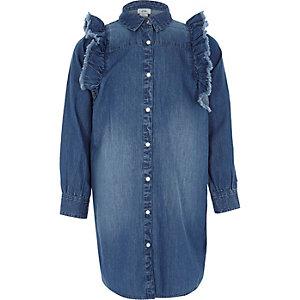 Robe chemise en denim bleu à volant pour fille
