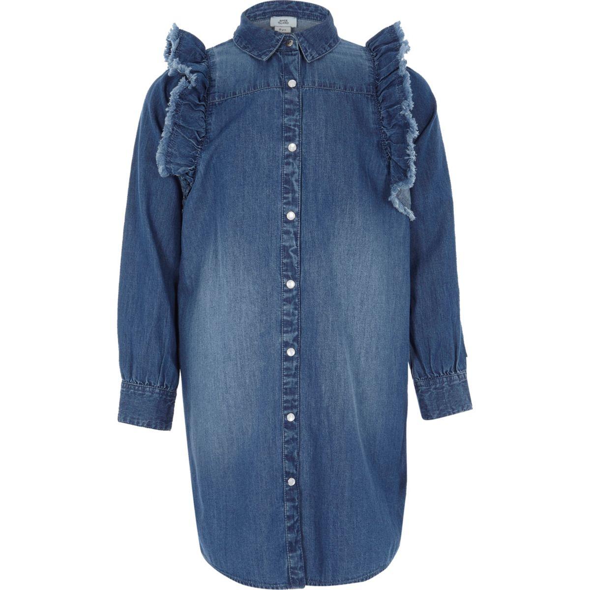 Girls blue denim frill shirt dress