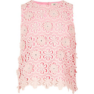 Girls pink lace sequin flower shell top