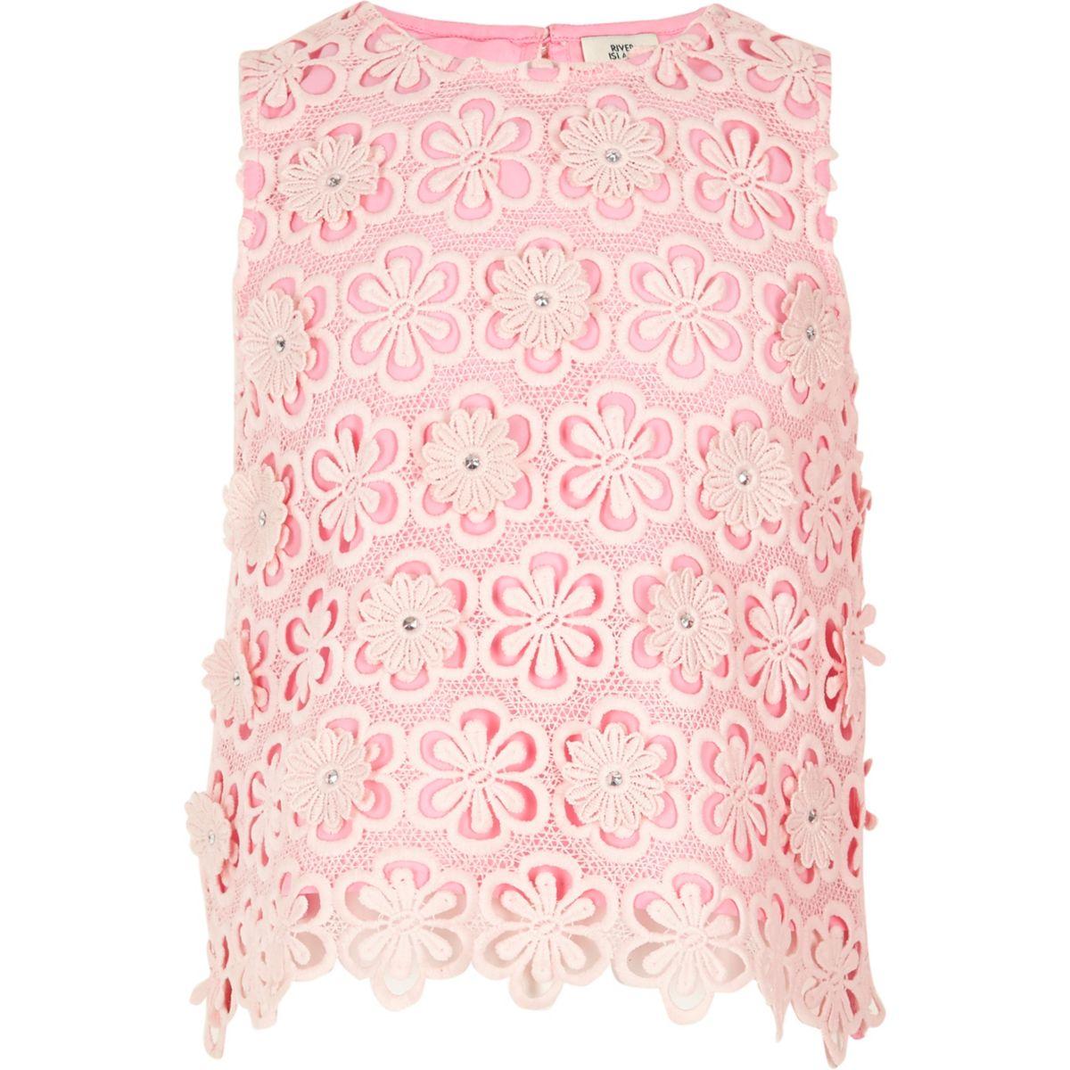 Top en dentelle rose à fleurs et sequins sans manches pour fille