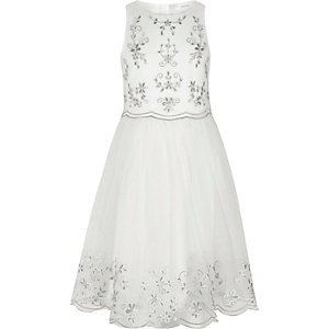 Girls white embroidered tulle skirt dress