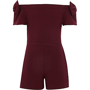 Girls burgundy bardot bow sleeve romper