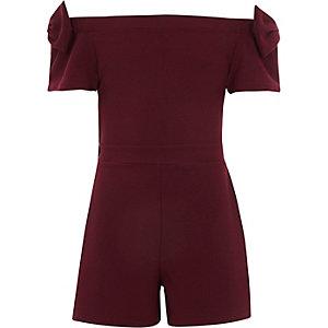 Girls burgundy bardot bow sleeve romper