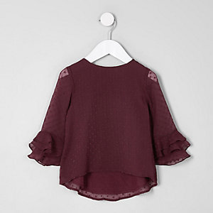Mini girls burgundy dobby frill sleeve top