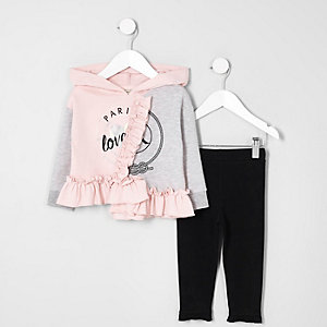 Mini girls pink and grey frill hoodie outfit