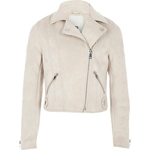 Girls stone faux suede biker jacket