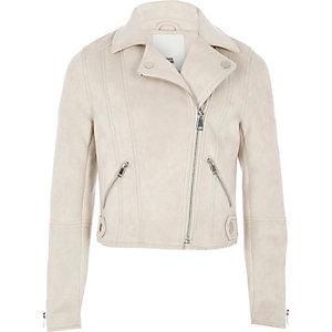 Girls stone faux suede biker jacket