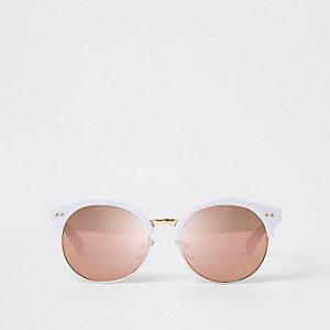 Weiße, verspiegelte Retro-Sonnenbrille