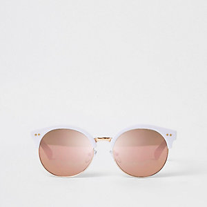 Witte retro zonnebril met spiegelglazen voor meisjes