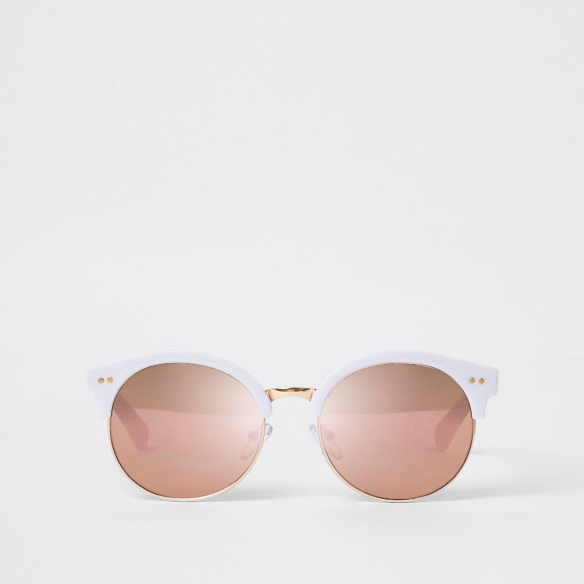 Girls white retro mirror lens sunglasses