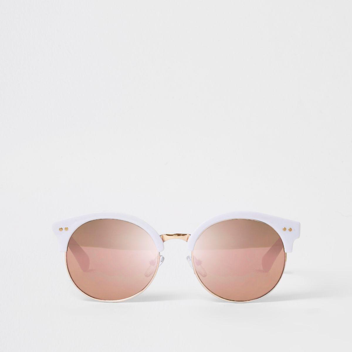 Lunettes de soleil rétro blanches à verres effet miroir pour fille