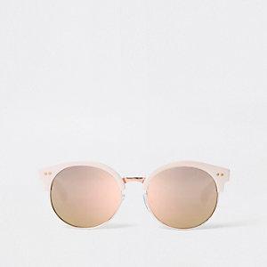 Pinke, verspiegelte Retro-Sonnenbrille