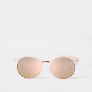 Girls pink retro mirror lens sunglasses